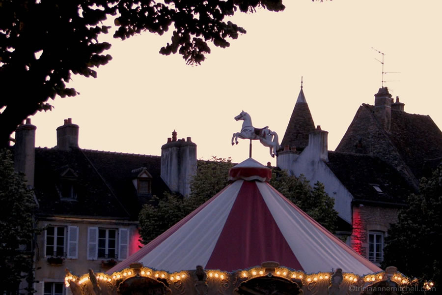 Carousel Beaune France Burgundy Dusk