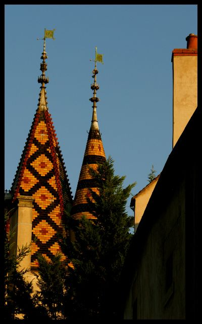 Decorative Tiled Tower Rooftops in Beaune, France