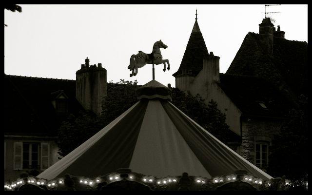 Carousel in Beaune, France at Dusk