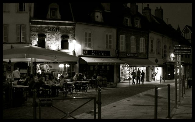 Beaune Streetscape in Black and White at Night - France