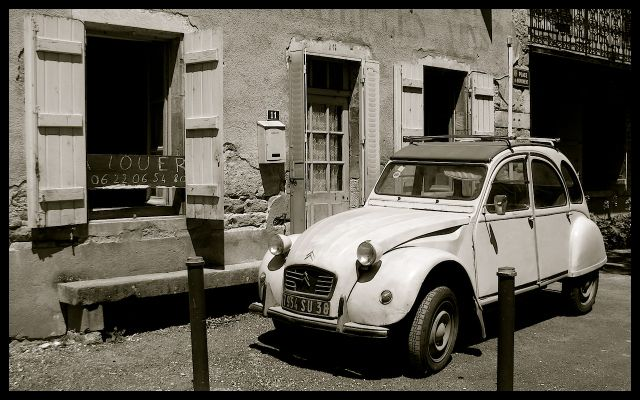 Citroen Parked in Front of Stone Home in Burgundy, France
