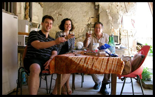 Group Toasting with Wine in Burgundy, France