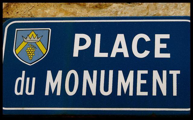 Place du Monument Street Sign in Burgundy France