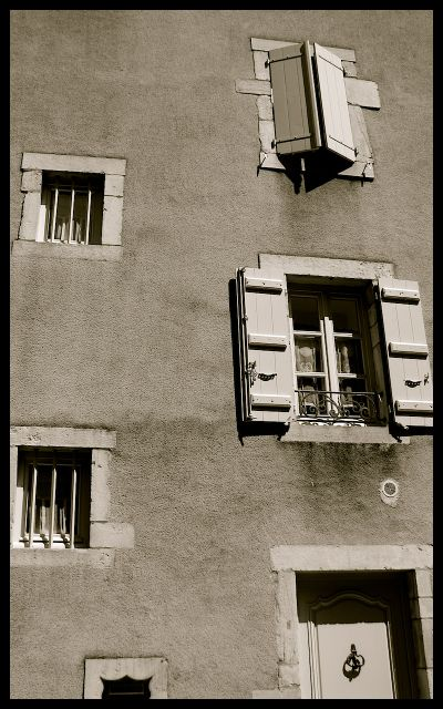 Windows of Home in Burgundy, France in Black and White