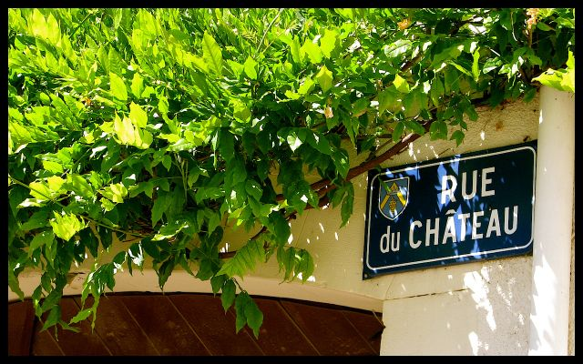 French Street Sign Rue du Chateau - Burgundy, France With Green Ivy