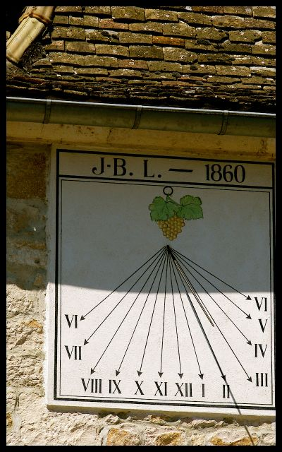 Sun Dial with Wine Theme in Burgundy France
