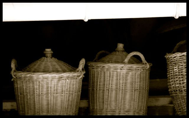 Wine Demijohns (Baskets) in Burgundy, France
