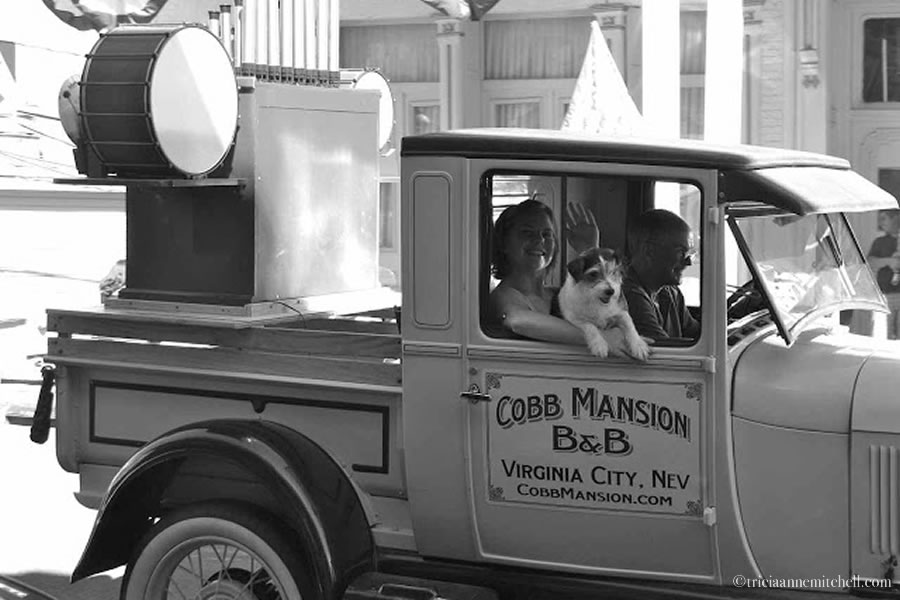 Cobb Mansion B & B Virginia City Nevada Dog in Truck