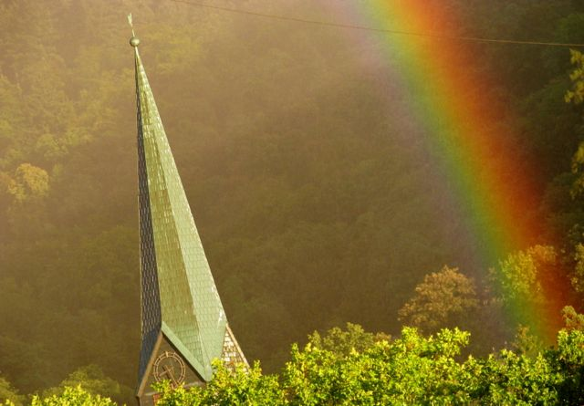 Rainbow by Peterskirche - Heidelberg Altstadt