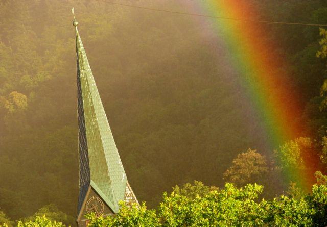 Rainbow by Peterskirche - Heidelberg Altstadt