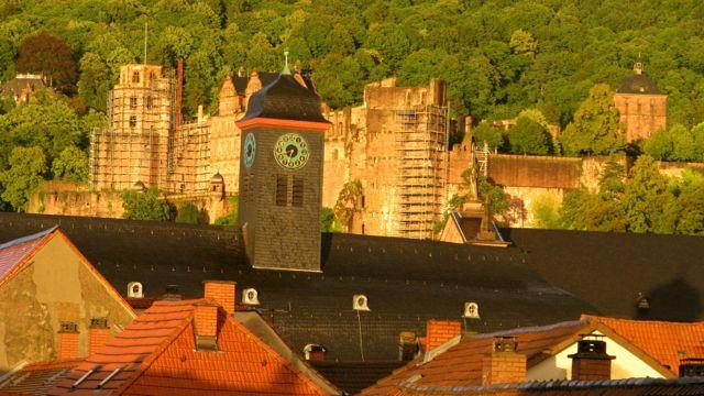 Schloss overlooking Uniplatz - Heidelberg Castle, Germany