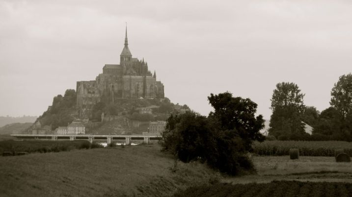 Mont Saint Michel in black and white - France