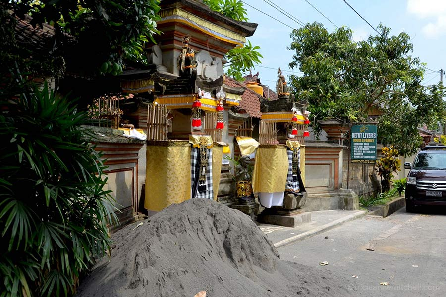 Front view of Ketut Liyer's home and business in the Indonesia city of Ubud, on the island of Bali.