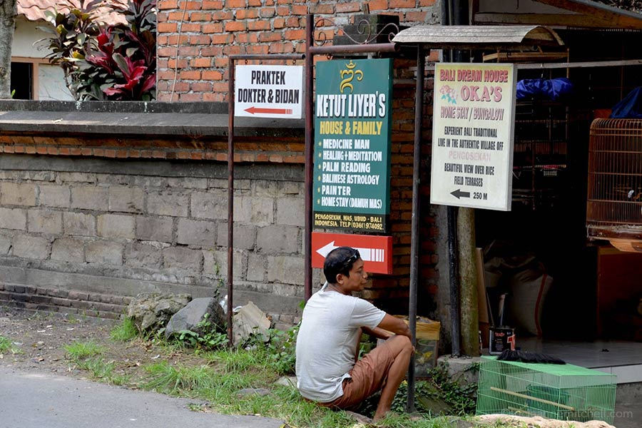 Signs showing Ketut Liyer's home in Ubud, Bali.