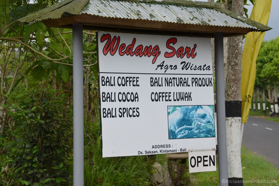 """A sign at the entrance of the Wedang Sari Coffee Plantation in Bali. The sign reads """"Bali coffee, Bali cocoa, Bali spices, Bali natural products, and coffee luwak"""""""