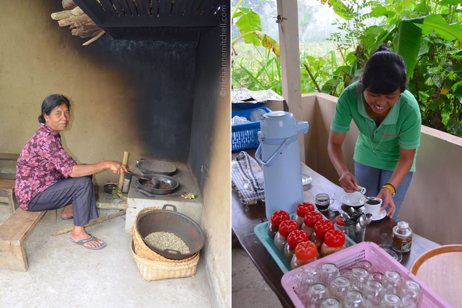 Two women prepare Kopi Luwak coffee: on the left one roasts the beans, on the right, another mixes the grounds with water.