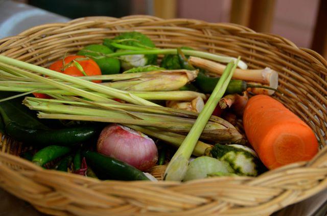 Bangkok Thailand cooking class ingredients in basket