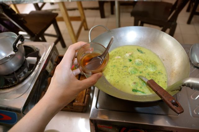 Thai green curry cooking