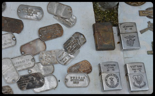 war medals and dog tags for sale on Vietnamese sidewalk