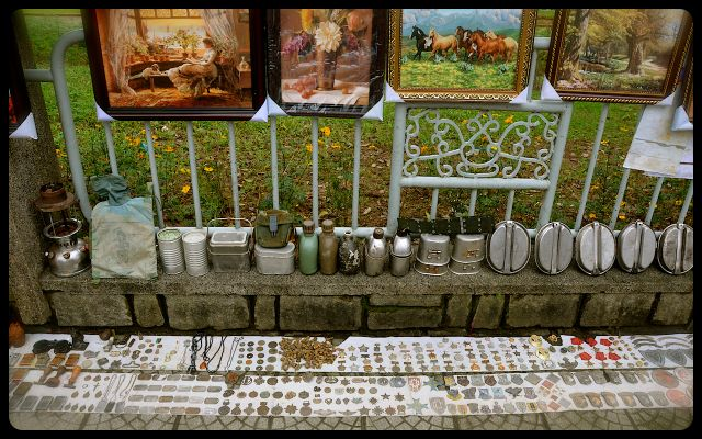 canteens, war medals and dog tags for sale on Vietnam sidewalk