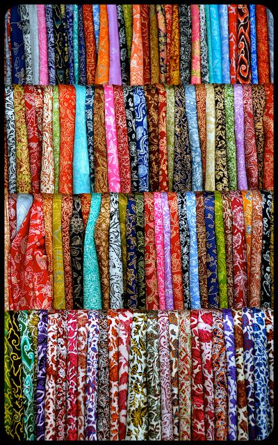 Balinese batik silk scarves for sale.