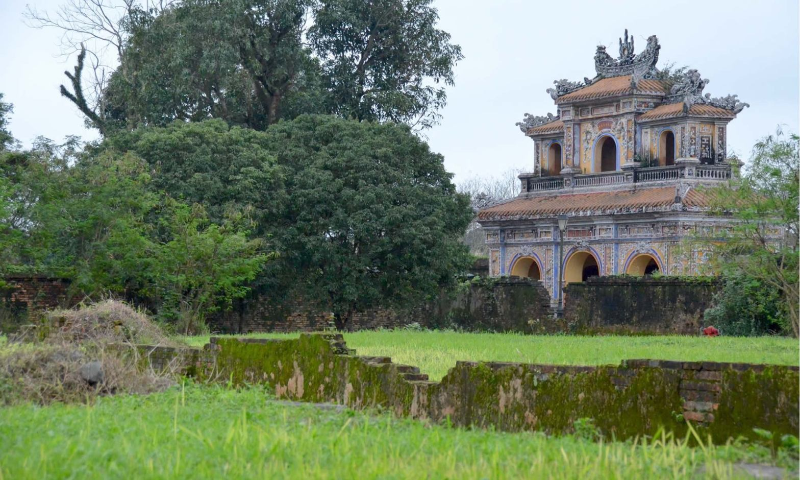 An Imperial City structure in Hue, Vietnam shows signs of war.