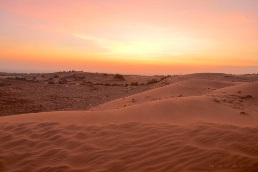 The Mui Ne Red Sand Dunes at sunset.