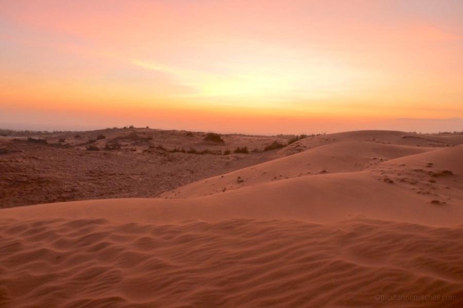 The Mui Ne Red Sand Dunes at sunset.