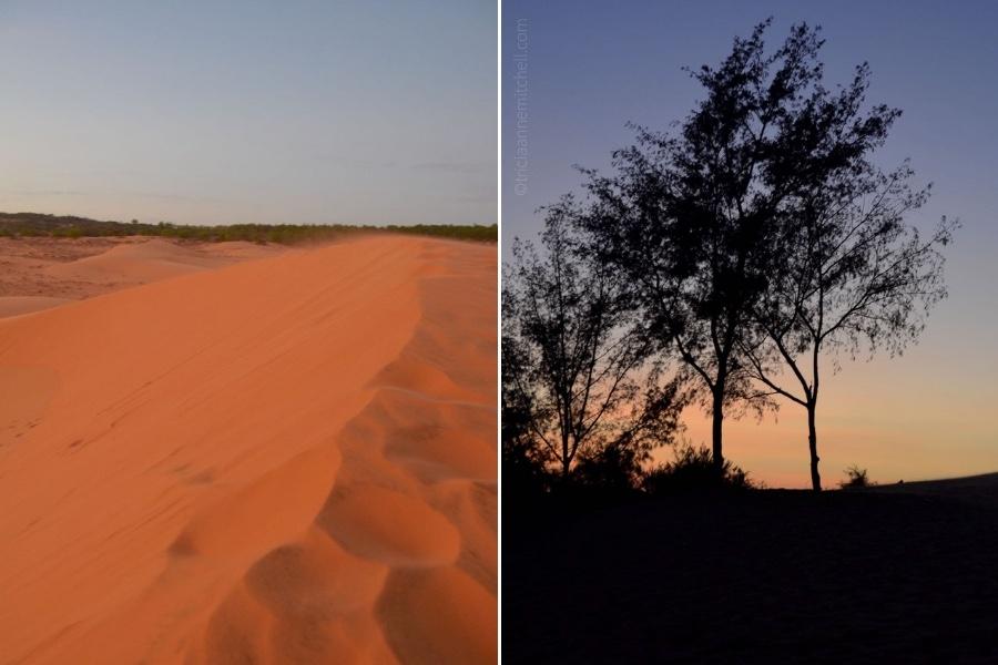 Close-up of the Mui Ne Red Sand Dune in Vietnam.