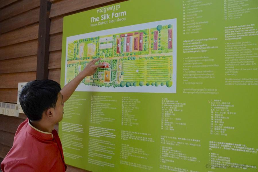A Cambodian man points to a map at the Artisans Angkor Silk Farm, near Siem Reap, Cambodia.