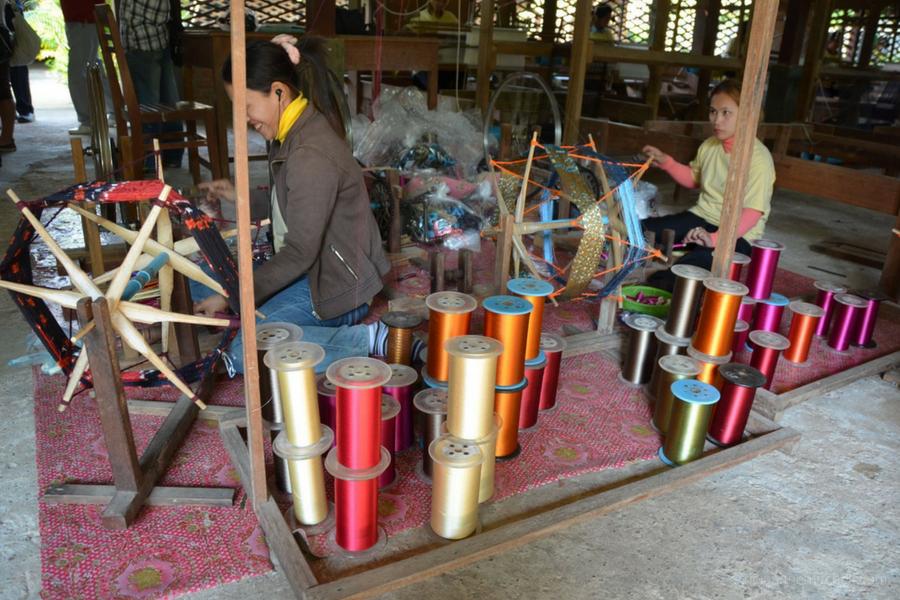 spools of silk thread weaving Cambodia