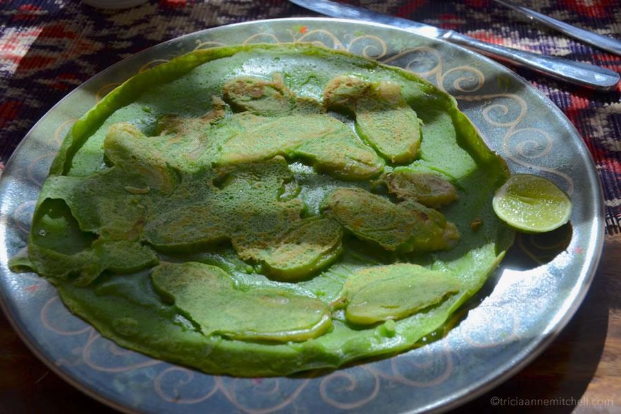 Balinese green banana pancakes