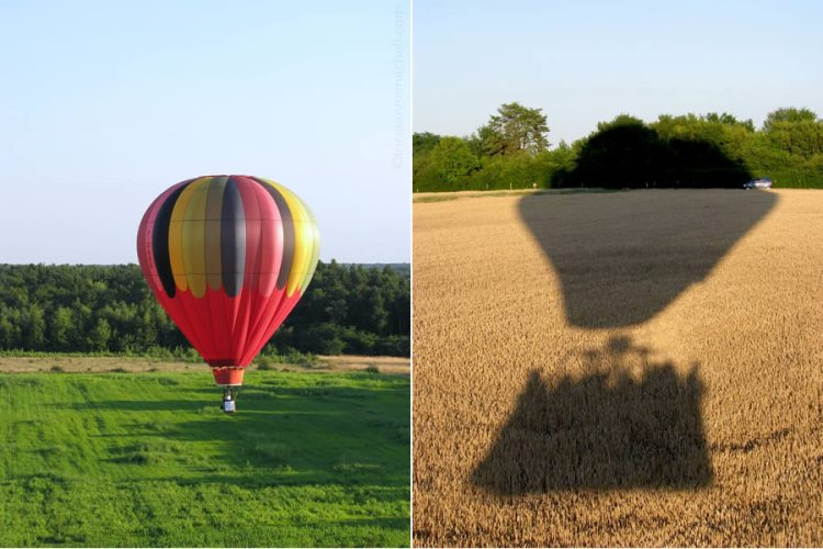 A colorful hot air balloon prepares to land in a green field (left) and the shadow of a hot air balloon (right), both in France.