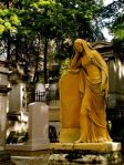 sepia-statue at Pere Lachaise Cemetery in Paris