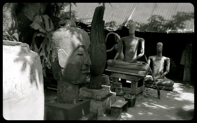 Sculpting Buddha in Luang Prabang Laos