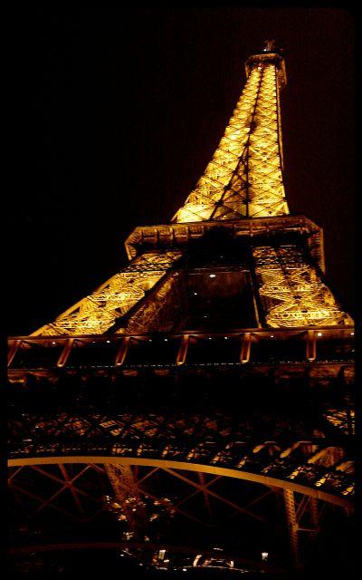 La Tour Eiffel at night - looking up