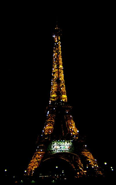 Eiffel Tower at night with twinkly lights