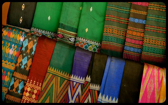 traditional Laotian Sinh skirts for sale in Laos