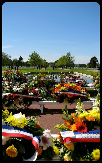 American Military Cemetery in Normandy Wreaths and Flowers photograph by Tricia Mitchell