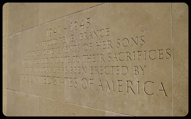 American Military Cemetery in Normandy Inscription in English photograph by Tricia Mitchell