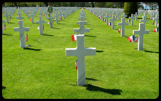 Graves in Normandy cemetery, France photograph by Tricia Mitchell
