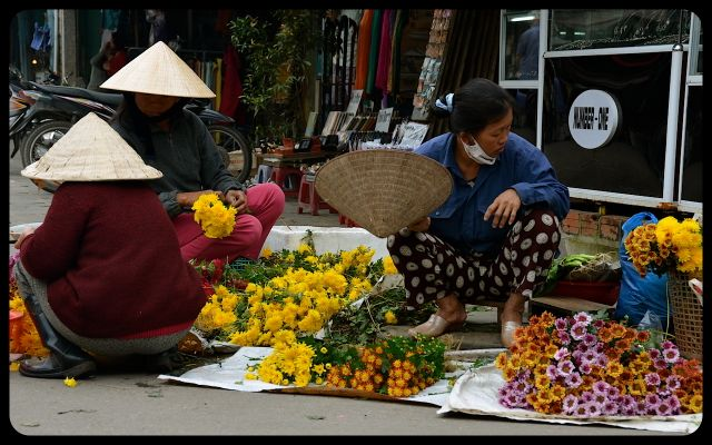 Merchants selling flowers in Hoi An Vietnam