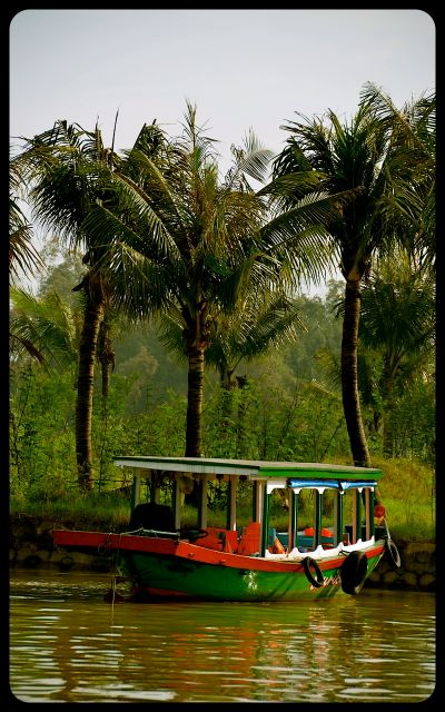 Boat under palm trees in Hoi An, Vietnam