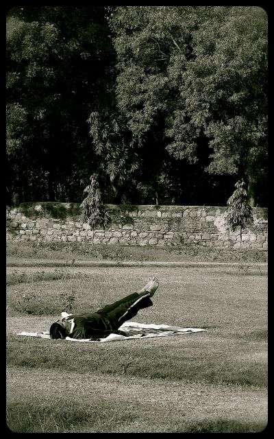 Yoga in the Lodi Gardens, New Delhi India