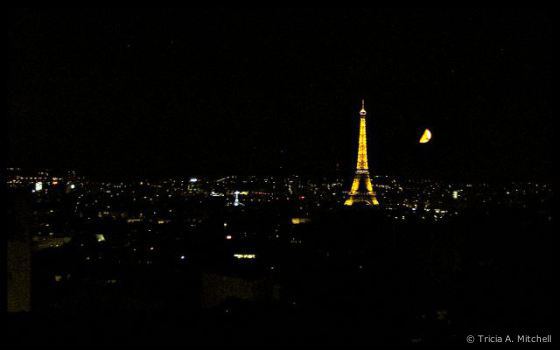 Paris Eiffel Tower and a Harvest Moon © Tricia A