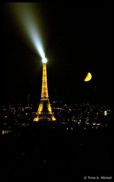 Paris Eiffel Tower with a Harvest Moon © Tricia A