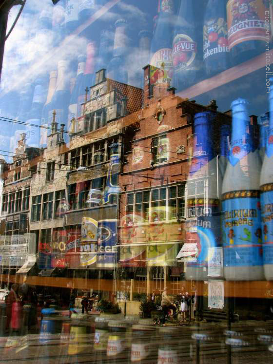 beer bottles in storefront in Ghent Belgium