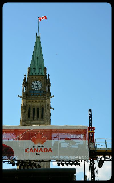 Parliament Building in Ottawa with Canada Day Stage