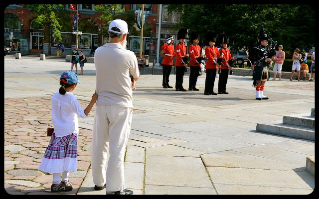 Father and Daughter Watching Tomb of the Unknown Soldier Honor Guard Marching in Toronto