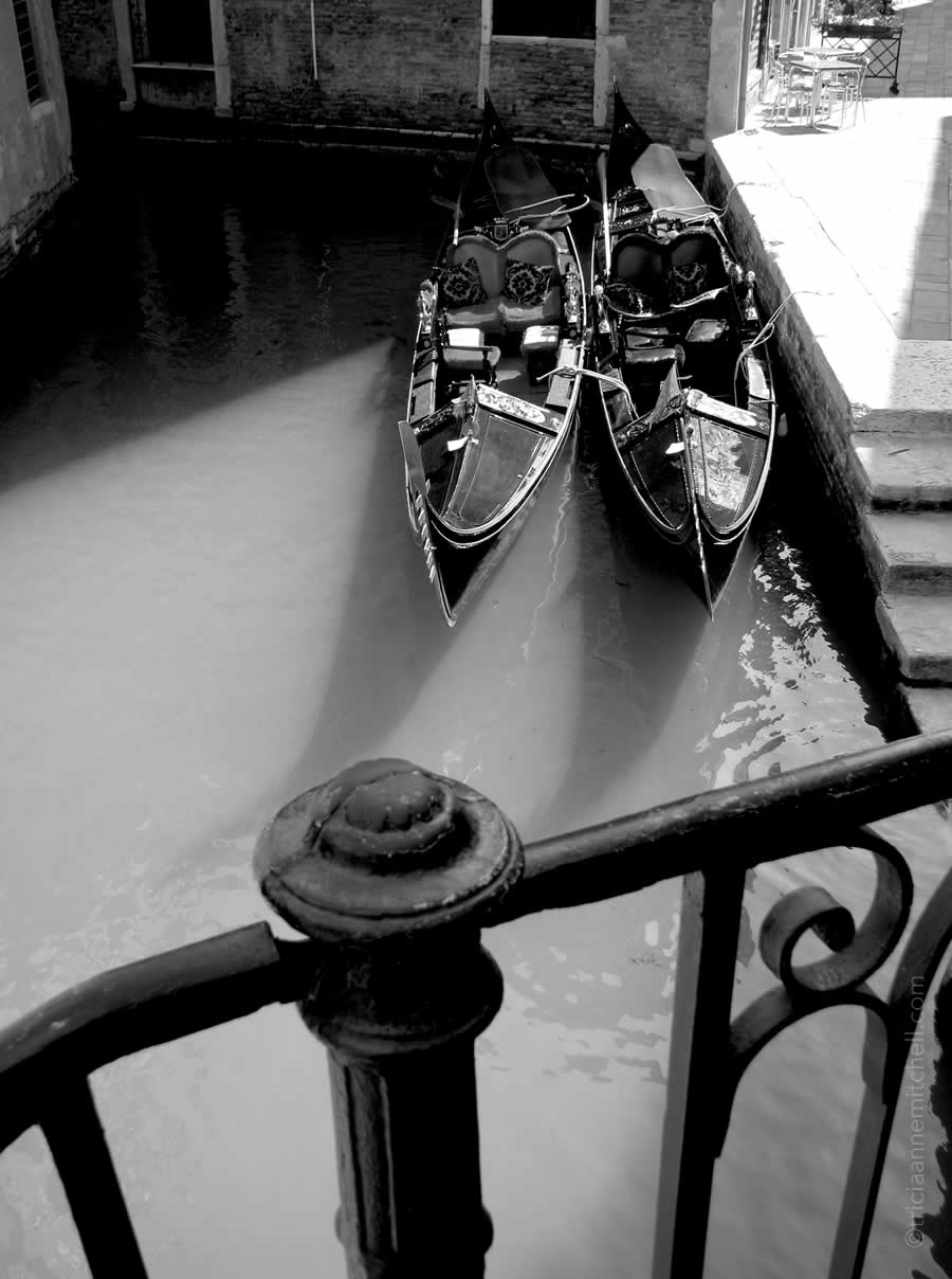 Gondolas Venice black and white